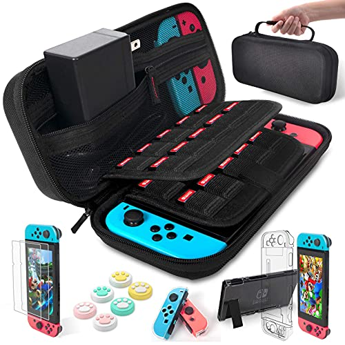 daydayup Compatible with Nintendo Switch Accessories Bundle Kit Case 9 in 1 Pouch Switch Cover Case HD Switch Screen Protector Thumb Grips Caps for Nintendo Switch Console Accessories