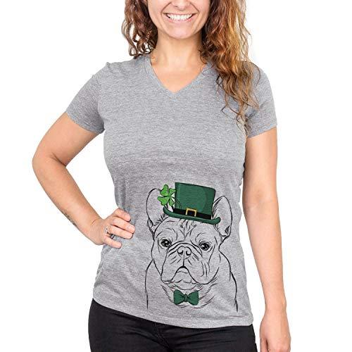 Inkopious St. Patrick's Day Fudge The French Bulldog Dog Women's Triblend T-Shirt V-Neck Medium Grey