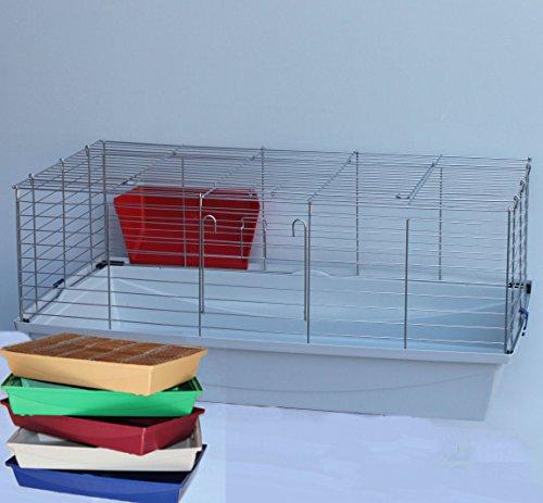 Heimtiercenter Hasenkäfig Meerschweinkäfig Käfig 1m rot blau grün beige weiß (Grau)