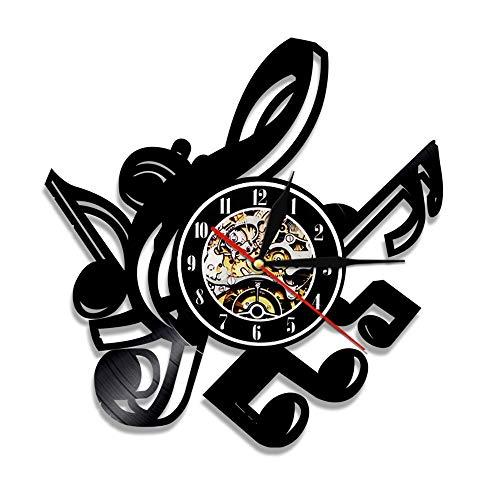RFTGH Nota Musical Arte de la Pared Disco de Vinilo Reloj de Pared Tabla de Clave de Sol Moderno Club de música decoración Colgante Rock Reloj músico Regalo