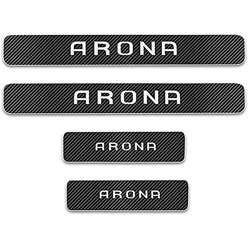ZGYAQOO 4 Pcs Car Carbon Fiber Leather Door Sill Kick Plates for Seat Arona, Scuff Plate Guard Protector Trim Sticker, Threshold Cover Pedal Styling Accessories