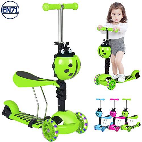 Birtech Kinderroller 3 Räder 2 Jahre Kinderscooter Dreirad Scooter 3 in 1 mit Höhenverstellbarer Lenker, Abnehmbarem Sitz, LED Rädern für Klein Kinder,Grün