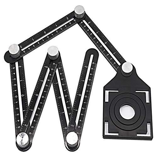 Ontracker Herramienta multifuncional ajustable para la búsqueda de agujeros de mampostería, cristal, perforadora fija, regla de medición de ángulos, plantilla de artefactor de azulejos