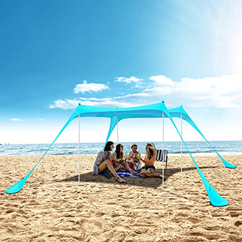 Beach Tent Sun Shelter UPF50+ with Sand Shovel, Ground Pegs and Stability Poles, Outdoor Shade for Camping Trips, Fishing, Backyard Fun or Picnics (10x10 FT 4 Pole Turquoise)