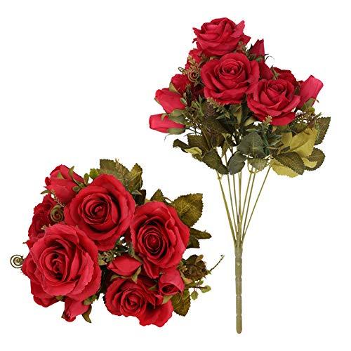 Tifuly Mazzi di Rose Artificiali, 2 Pezzi 12 Fiori di Seta boccioli di Rose finte per Decorazioni per l'home Office, Bouquet da Sposa, Composizione Floreale, centrotavola (Rosso)