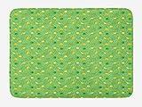 ABAKUHAUS Limonada Tapete para Baño, Limón y Lima Bebidas, Decorativo de Felpa Estampada con Dorso Antideslizante, 45 cm x 75 cm, Verde y Amarillo