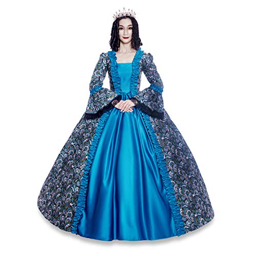 Colonial Georgian Penny Dreadful Victorian Dress Gothic Period Ball Gown Reenactment Theater Costumes (M, Blue)