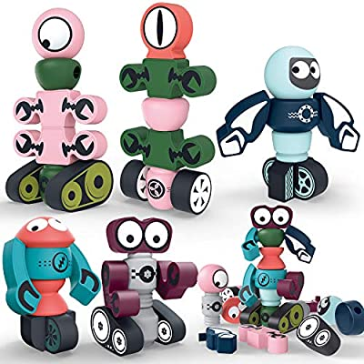Hiveseen Magnetic Robots Building Toy, 35 PCS Magnetic Blocks Stacking Robots Set with Storage Box for Kids, STEM Educational Toy Gift for 3 4 5 6 Years Old Boys and Girls