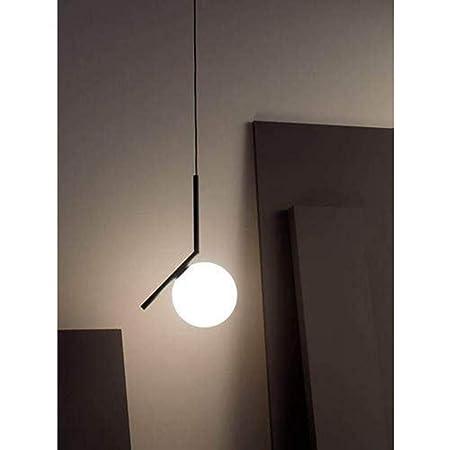 MZStech Suspension sphérique de mode moderne, lampe suspendue en fer noir et en verre(20cm)