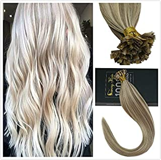 Sunny 100 Real Flat Tip Hair Extensions 14inch Dark Ash Blonde Highlights Blonde #18/613 Pre Bonded Keratin Human Hair Extensions for Woman 1G/1S 50G Per Pack
