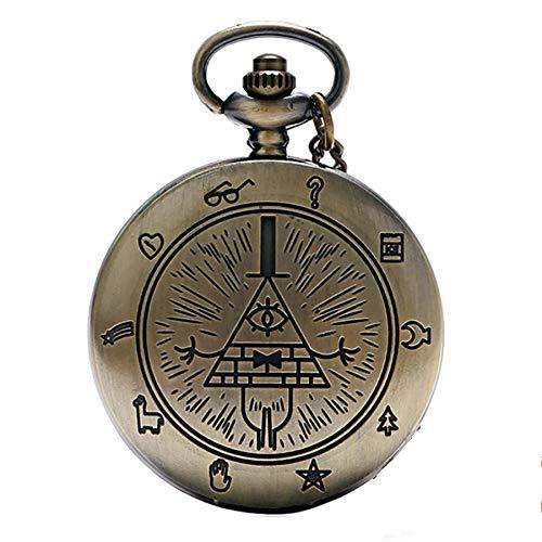 Vintage Bill Cipher Quarz Taschenuhr Analog Anhänger Halskette Männer Frauen Uhren Kette Geschenk