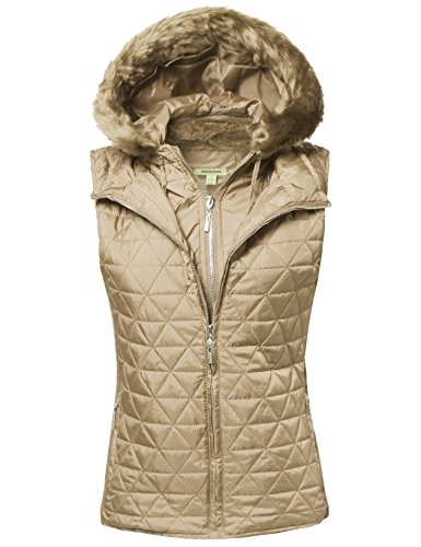 Quilted Mediumweight Vest With Detachable Hood Khaki M Size