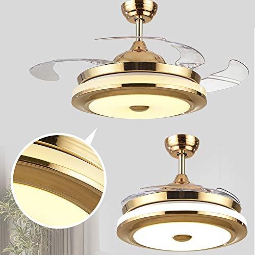 MDSQ Luz del Ventilador Techo iluminación del Ventilador salón Invisible Ambiente Moderno Minimalista hogar araña Restaurante LED Dormitorio lámpara de Cristal