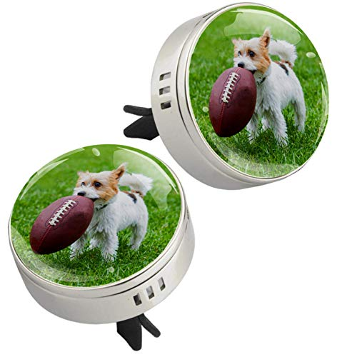 Z&Q Car Essential Oil Diffuser Dog And Rugby Car Air Freshener 4 PE supplementary pad for Your Car Office Room or Other Indoor Places 1.33inX1.83in
