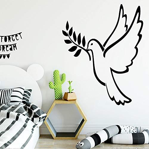HUIMOU Bird autoadhesivo papel pintado de vinilo para sala de niños sala de estar dormitorio hogar pegatinas de pared decoración PVC calcomanías de pared XL 58cm X 72cm azul