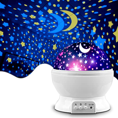 MOKOQI Star Projector Night Lights for Kids, Gifts for 1-4-6-14 Year Old Girl and Boy, Room Lights for Kids, Glow in The Dark Stars and Moon can Make Child Sleep Peacefully and Best Gift -White