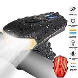RenFox Luz Bicicleta Recargable USB, LED Luz Bicicleta con 400lm & IP65 Resistente con 5 Modes, Faro Delantero superbrillante y luz Trasera para Bicicletas - Seguridad para la Noche