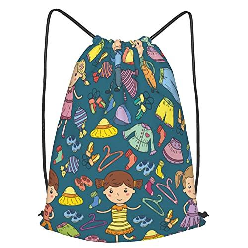 AndrewTop Mochilas de Cuerdas Unisex,conjunto de iconos de vector de ropa de niños,Impermeable Mochila con Cordón,adulto Niños exterior Mochilas Casual,yoga Bolsas de Gimnasia