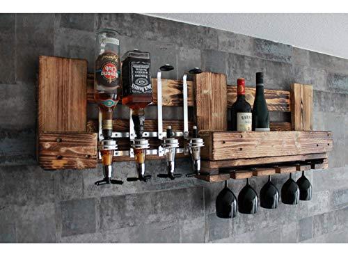 WANDBAR Regal mit 4 Getränkespender, Schnaps Dosierer Proportionierer,für Cocktail´s, Gin, Longdrinks im Industrial Vintage Landhaus Stil, Hausbar Butler, Weinregal aus Palettenholz
