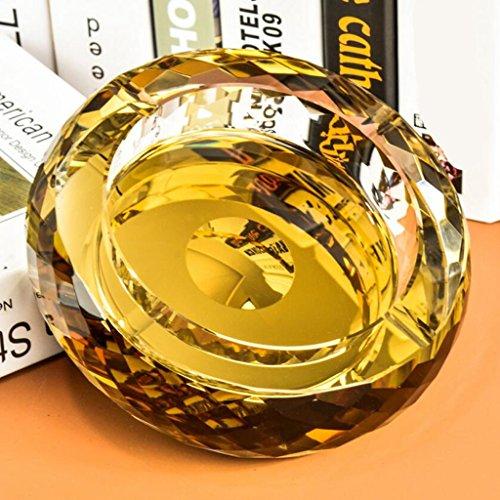 cendrier Xuan - worth having verre rond plaqué or Décoration de salon (taille : 25*25*4.5cm)
