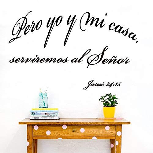 Blrpbc Pegatinas de Pared Español En Cuanto a mí y mi casa Josué 24:15 Dormitorio Boda Versículo bíblico Cita de Amor Familiar Sala de Estar 101x61cm