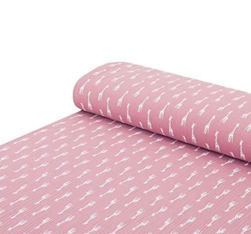 Nadeltraum Baumwoll - Musselin Stoff Giraffe pink - Meterware ab 25 cm x 130 cm - Stoff zum Nähen