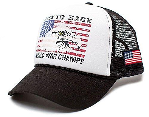 Back To Back World War Champs Eagle Unisex-Adult Trucker Hat -One-Size (Black/White/Black)