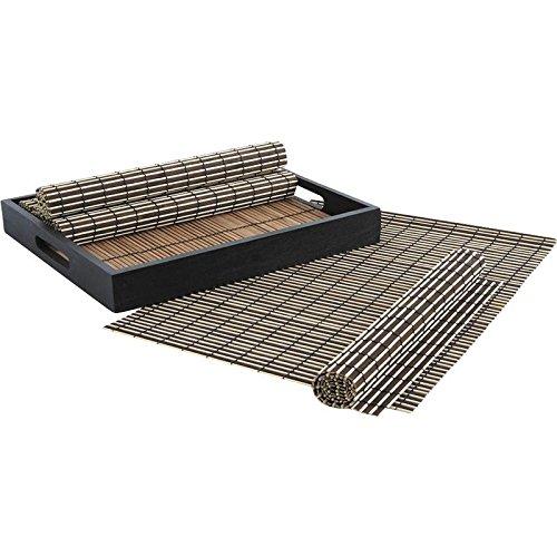 Plateau en bois laqué noir + 6 sets de table en bambou