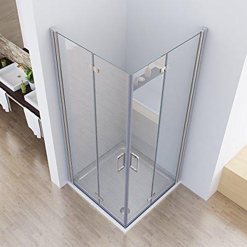 90 x 75 x 195 cm Duschkabine Eckeinstieg Dusche Falttür 180º Duschwand Duschabtrennung NANO Glas