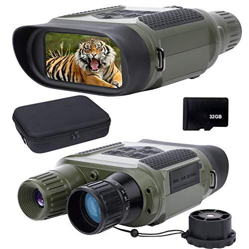 Prismáticos de Visión Nocturna para Adultos, con Tarjeta TF de 32 GB, Zoom Infrarrojo HD de 7X, Rango de Cámara de 400 m, para Caza, Exploración de Campamentos, Navegación Verde