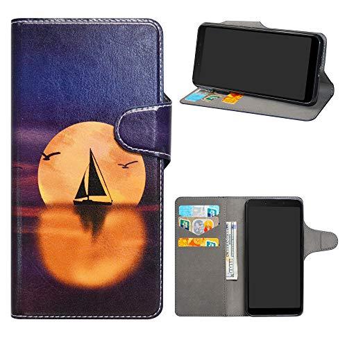 HHDY Xiaomi Redmi 6A Leder hülle, Painted Muster Wallet Handyhülle mit Kartenfächer/Standfunktion Hülle Cover für Xiaomi Redmi 6A,Sailboats und Moon