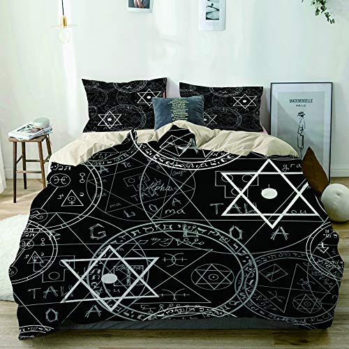 KOSALAER Beige Duvet Cover Set,Seamless mystic pattern with occult symbols and pentacles,Decorative 3 Piece Bedding Sets with 2 Pillow Shams,Ultra Soft Quilt Cover King Size 230x220cm