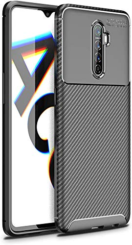 Diman Hülle für Realme X2 Pro + Panzerglas, Ultra Thin TPU Silikon Handyhülle Anti-Rutsch-Stoßfest Schlank Bumper Hülle, Schwarz