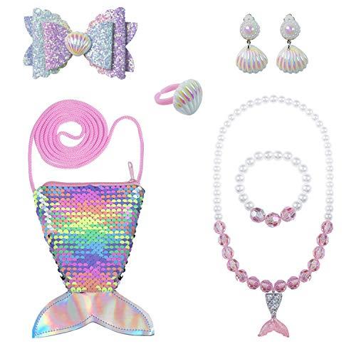 ZWOOS Joyas para Niños, 7PCS Monedero De La Sirena De Las Lentejuelas Collar Pulsera Anillo Pinzas de Cabello Conjunto para Vestir a niñas pequeñas y Juegos de rol (Pink)
