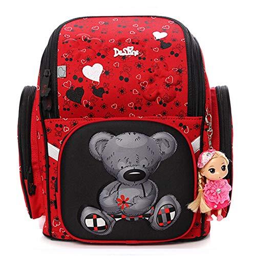Delune - Cartella per bambini, per scuola, impermeabile, ergonomica, per bambini, rosso (Rosso) - 6-109