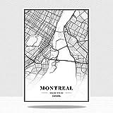 JYWDZSH Leinwanddruck Kanada Montreal City Maps