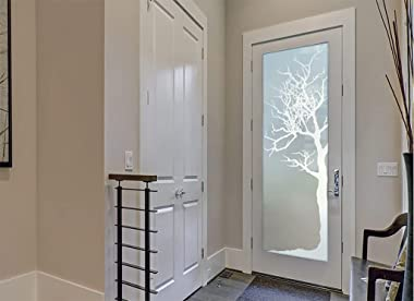 SANS Soucie - / Interior Door - Winter Tree - 1D Private Frosted - Trees / Primed