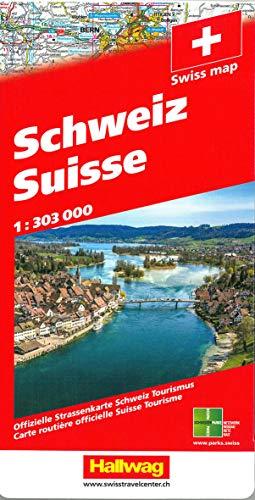 Schweiz 2021 Strassenkarte 1:303 000: Offizielle Strassenkarte Schweiz Tourismus (Hallwag Strassenkarten)