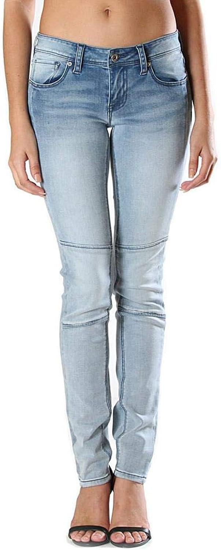 Grace in LA Women's Junior Fit LightWash Moto Skinny Jeans   JNW9225 bluee