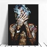 Amokr Leinwand Bilder 60x80cm kein Rahmen Wiz Khalifa Rap