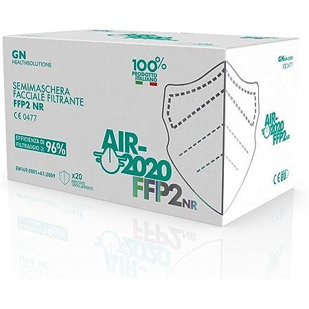 AIR-2020 - Mascherine FFP2 Certificate - Sistema Nasale Antiappannamento - Mascherina Antiappannamento Made in Italy - Confezionate singolarmente - 20 pezzi