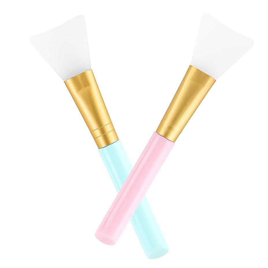 マスクブラシ - Luxspire ソフト シリコン マスク用 フェイスケア スキンケア フェイシャル マスク泥ブラシ メイクブラシ マスクツール メイクアップブラシ アプリケータツール 持ち運び簡単 2本セット Blue & Pink
