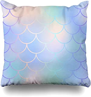 Ahawoso Throw Pillow Cover Square 18x18 Invitation Fish Skin Pattern Fishscale Ornament Abstract Symmetric Digital Mesh Textures Mermaid Decorative Cushion Case Home Decor Zippered Pillowcase