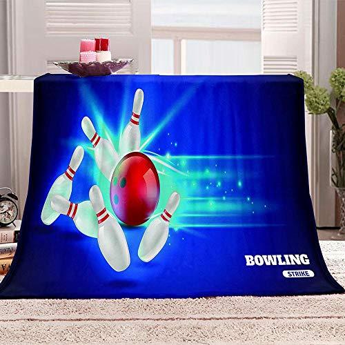 tjxu 3D-Druck Decke Flanell Bowling weichen Plüsch-Flanell-Decke Quilt Geschenk Bedding 100 X 130 cm