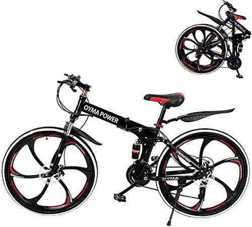 US Shipping Outroad Mountain Bike 6 Spoke 21 Speed 26 in Folding Bike Wheels Dual Suspension MTB Bikes Double Disc Brake Bicycles for Adult Teens (Black)