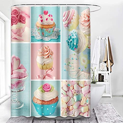 ArtSocket Rosa & Blau Duschvorhang, Cupcakes Duschvorhänge für Badezimmer Dekor-Sets, Sommer Eis Kinder Duschvorhang mit 12 Haken, wasserdichtes Polyestergewebe, 183,9 x 183,9 cm