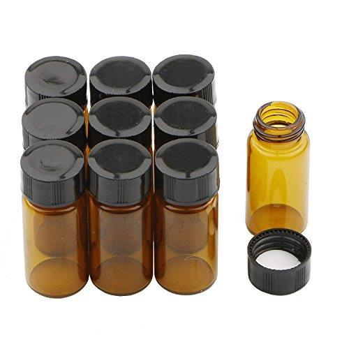 Pxyelec Leere Braune Probefläschchen 5ml Glasflaschen mit schwarzem Schraubverschluss Kunststoff
