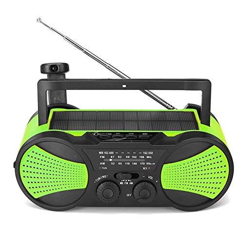 Radio de manivela portátil, Cargador USB 2000mAh Power Bank, Radio de Emergencia Solar de Emergencia con Linterna LED, Alarma SOS para el hogar, Exterior
