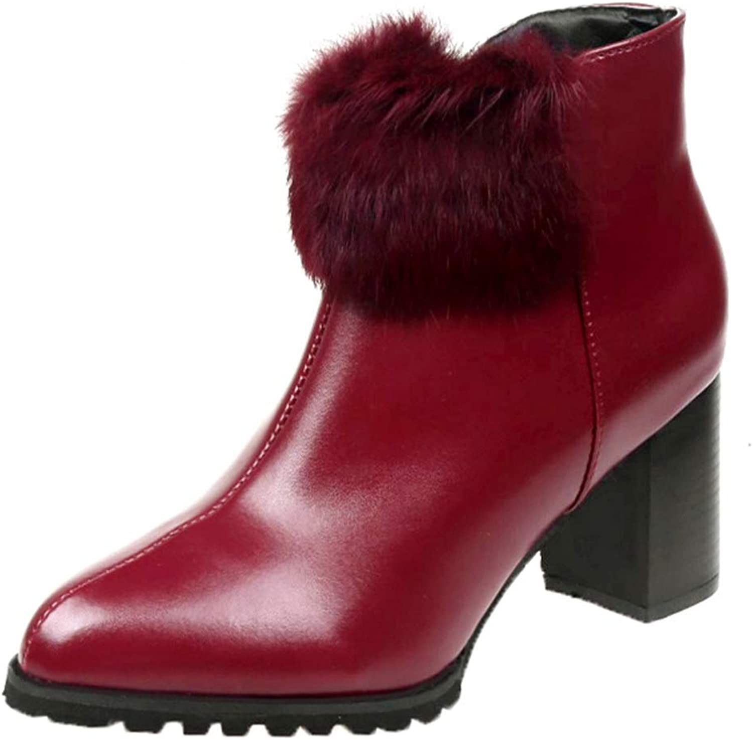 Women Leather Ankle Boots Pointed Toe Chunky High Heels with Zip Side Fluffy Ball Decor, Red Party shoes