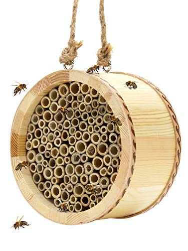 KIBAGA Mason Bee House - Handmade Natural Bamboo Bee Hive - Attracts Peaceful Bee Pollinators to Enhance Your Garden's Productivity